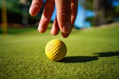 Mini Golf yellow ball on green grass at sunset. Mini Golf yellow ball on green grass sunset stock photos