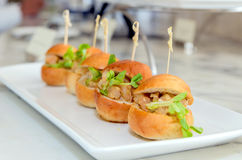 Mini- hamburgare på den vita disketten Royaltyfri Foto