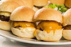 Mini- hamburgareportion med ost och sallad Arkivfoto