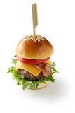 Mini hamburger with toothpick Stock Images