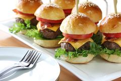 Mini hamburgers Stock Photos