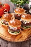 Mini Hamburgers Fotografía de archivo libre de regalías