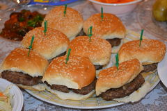 Mini Hamburgers Royaltyfria Bilder
