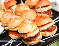 Mini hamburgers Stock Photos