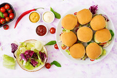 Mini hamburgers with chicken burger, cheese and a vegetables. Stock Photos