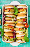 Mini hamburgers with chicken burger, cheese and a vegetables Stock Image