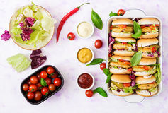 Mini hamburgers with chicken burger, cheese and a vegetables. Royalty Free Stock Photography