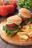 Mini hamburgers with french fries Stock Image
