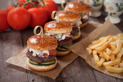 Mini hamburgers with french fries Stock Photography