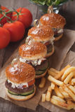 Mini hamburgers with french fries Royalty Free Stock Photo