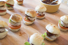 Mini hamburgers Stock Photography