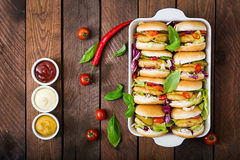Free Mini Hamburgers With Chicken Burger, Cheese And A Vegetables. Royalty Free Stock Photography - 85471427