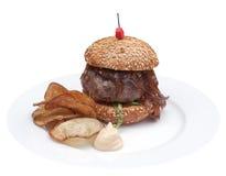 Mini hamburguer do reforço preto checo de angus Foto de Stock