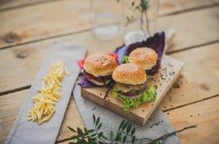 Mini hamburguers Fotografie Stock Libere da Diritti