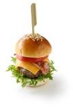 Mini hamburguesa con el toothpick Imagenes de archivo