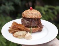 Mini hamburguesa de la costilla negra checa de angus Fotografía de archivo libre de regalías