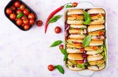 Mini hamburguesas con la hamburguesa del pollo, queso y verduras Imagen de archivo libre de regalías
