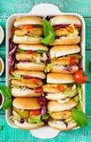 Mini hamburguesas con la hamburguesa del pollo, queso y verduras Imagen de archivo