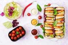 Mini hamburguesas con la hamburguesa del pollo, queso y verduras Fotografía de archivo libre de regalías
