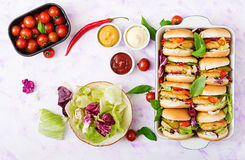 Mini hamburguesas con la hamburguesa del pollo, queso y verduras Imagenes de archivo