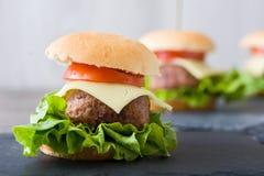 Mini hamburguesas deliciosas Imagen de archivo libre de regalías