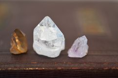Mini Healing Crystals, Clear Quartz, Crystal Wiccan Alter, Bohemian Decorations, Meditation, Reiki Chakra healing, Beautiful and B royalty free stock photos