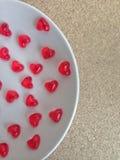 Mini heart jelly in dish Royalty Free Stock Photo