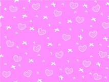 Mini heart and ribbon on pink. Background seamless pattern,Shape of heart and ribbon pattern, Not ordered pattern, Sweet style pattern, Cute pattern vector for Stock Photos