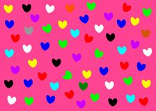 Mini hearts for Valentines card vector on the pink background texture royalty free illustration