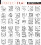 Mini het conceptensymbolen van het Blockchainoverzicht Bitcoin, geplaatste illustraties van de de slag lineaire stijl van ethereu stock illustratie