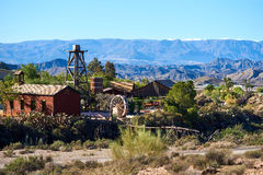 Mini Hollywood or Oasys, is a Spanish Western-styled theme park,. Located near the town of Tabernas in the province of Almeria, Andalusia Royalty Free Stock Photo
