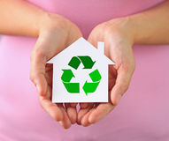 Mini house with recycling symbol Royalty Free Stock Images