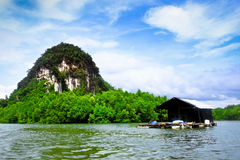 Mini house and stone mountain in the mangrove swamp Stock Images