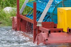 The mini hydroelectric power plant - ecologically clean source of renewable energy. Green energy. stock image