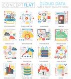 Mini icônes de données de nuage de concept d'Infographics pour le Web Icônes plates conceptuelles de graphiques de Web de concept Images stock