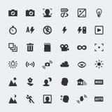 Mini-icônes de fonctions d'appareil-photo de vecteur réglés Photographie stock libre de droits