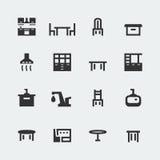 Mini-icônes de meubles de cuisine de vecteur réglés illustration libre de droits