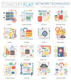 Mini icônes de technologie de réseau de concept d'Infographics et vente numérique pour le Web Appartement conceptuel de couleur d Images stock