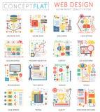 Mini icone di web design di Infographics e vendita digitale per il web Progettazione piana concettuale di colore premio di qualit illustrazione vettoriale