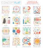 Mini iconos de la bioquímica de la genética del concepto de Infographics para el web Gráficos planos conceptuales del web del dis stock de ilustración