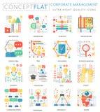 Mini iconos de la gestión corporativa del concepto de Infographics para el web Gráficos planos conceptuales del web del diseño de libre illustration
