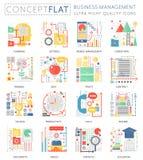Mini iconos de la gestión de negocio del concepto de Infographics para el web Gráficos planos conceptuales del web del diseño del libre illustration