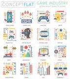 Mini iconos de la industria del juego del concepto de Infographics para el web Iconos planos conceptuales de los gráficos del web stock de ilustración