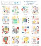 Mini iconos de la planificación financiera del negocio del concepto de Infographics y márketing digital para el web Color superio ilustración del vector