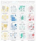 Mini iconos de la planificación financiera del negocio del proyecto del concepto de Infographics para el web stock de ilustración