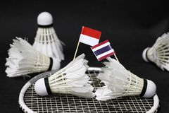 Mini Indonesia flag and mini Thai flag stick on the shuttlecock put on the net of badminton racket and other shuttlecocks around royalty free stock photography