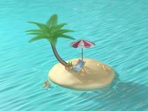 mini island coconut tree swimming cartoon style 3d render stock illustration