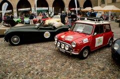 Mini and Jag at Bergamo Historic Grand Prix 2015 Royalty Free Stock Photo