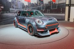 Mini John Cooper Works GP concept at IAA. FRANKFURT, GERMANY - SEP 17, 2017: Mini John Cooper Works GP concept 0059 at IAA Auto Show, side Stock Photo