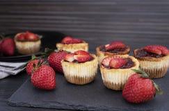 Mini- jordgubbeostkaka i muffinformer arkivbild